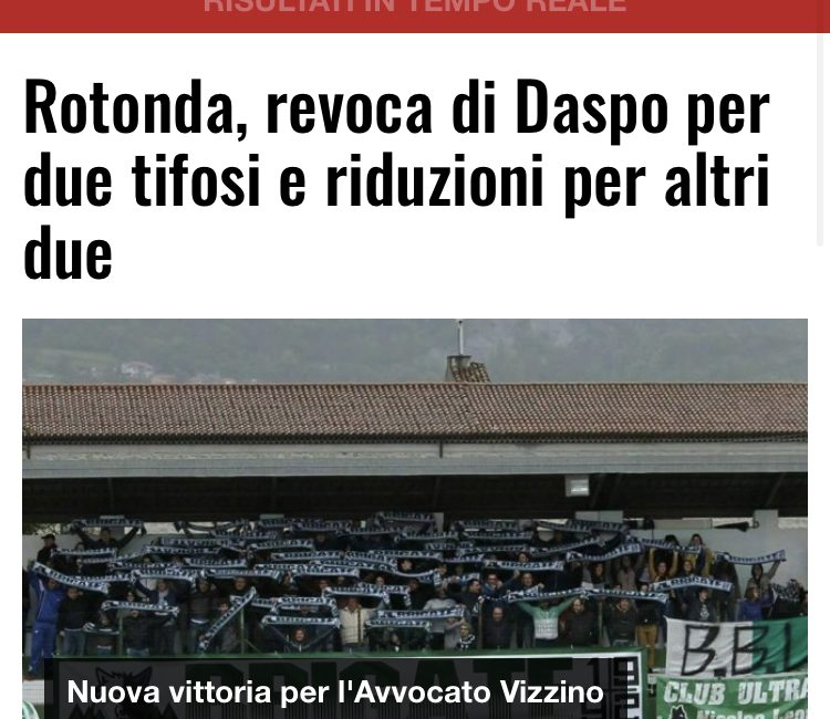 TIFOSI ASD ROTONDA CALCIO: REVOCATI 2 DASPO